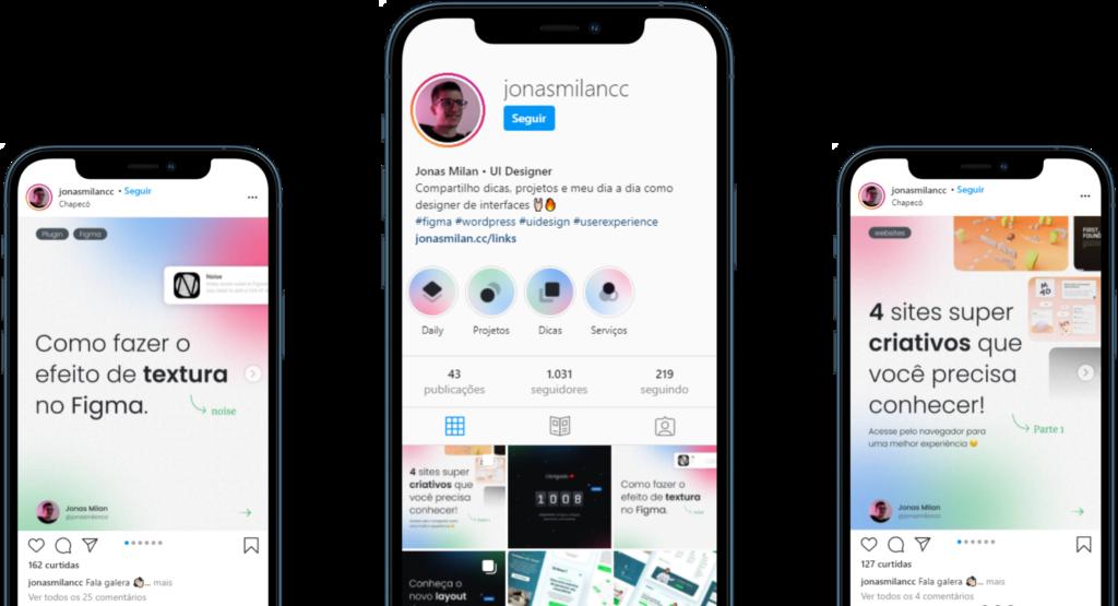 Imagem de três celulares mostrando o Instagram do jonas milan